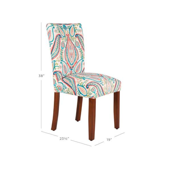 Homepop Multi Color Paisley Parson Dining Chairs K6805 A727 The Home Depot