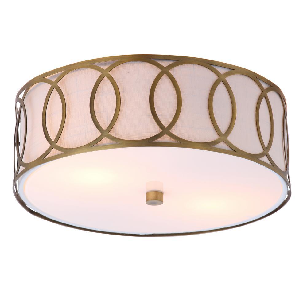 Aria 2-Light 12.25 in. Metal LED Flush Mount, Brass Gold