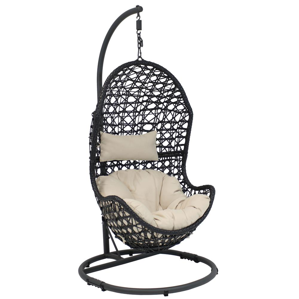 Sunnydaze Decor Cordelia Wicker Outdoor Hanging Egg Patio Lounge Chair With Stand And Beige Cushions Aj 796 The Home Depot