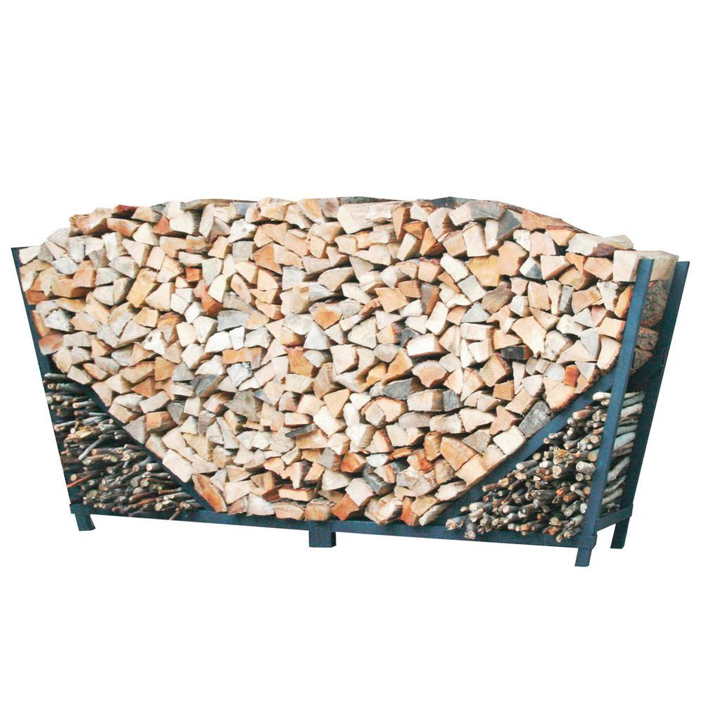 ShelterIT 10 ft. Firewood Log Rack with Kindling Wood Holder - Slanted Sides