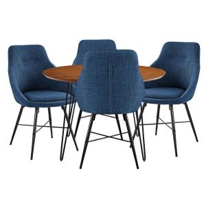 Brilliant Walker Edison Urban Mid Century Modern Round Hairpin 5 Piece Gmtry Best Dining Table And Chair Ideas Images Gmtryco