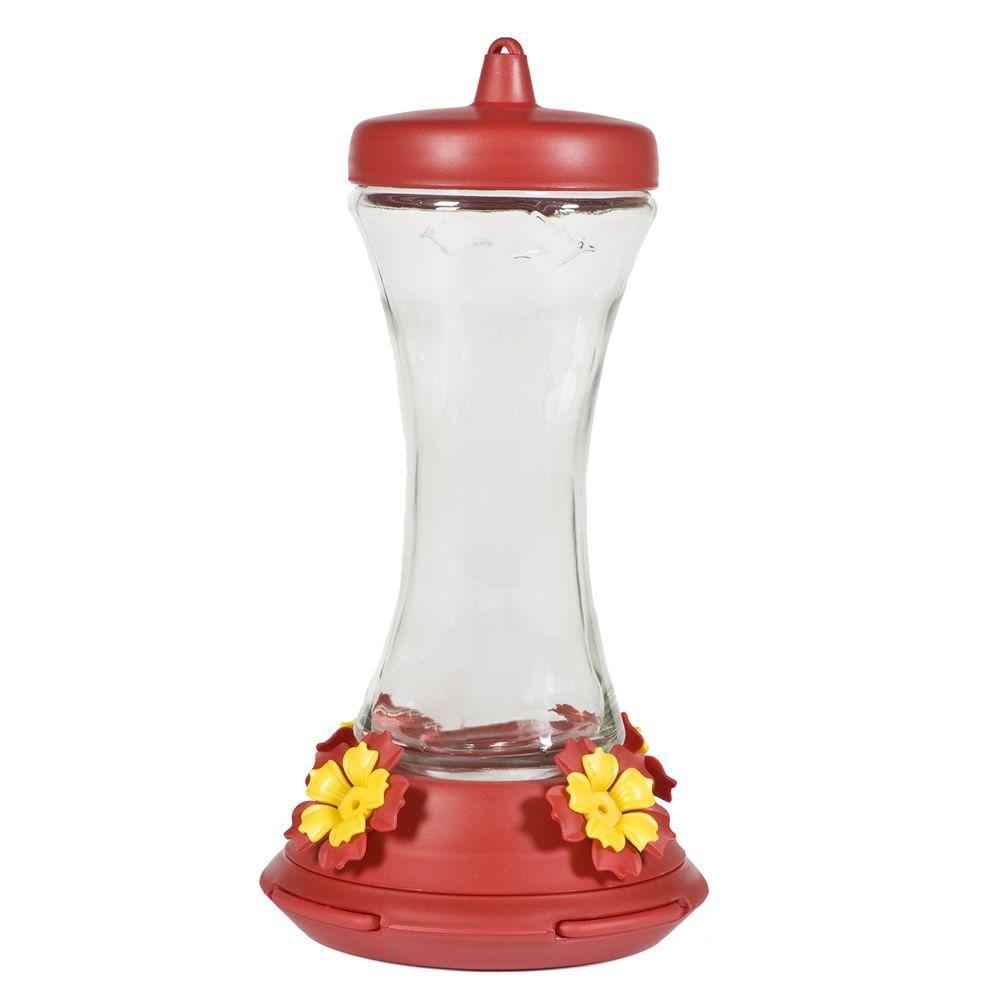 Adjustable Perch Glass Hummingbird Feeder - 20 oz. Capacity