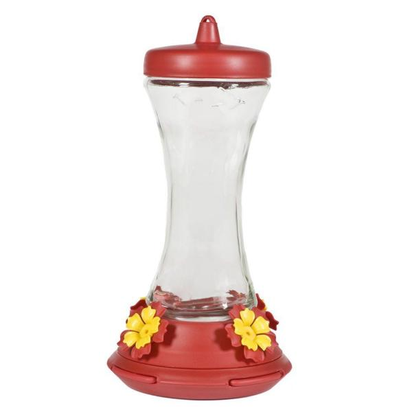 Adjustable Perch Glass Hummingbird Feeder - 20 oz. Capacity