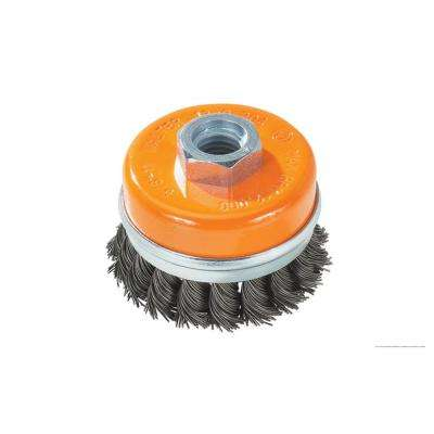3 in. Cup Brush Knot-Twisted Wires with Ring 5/8 in. -11 in. Arbor