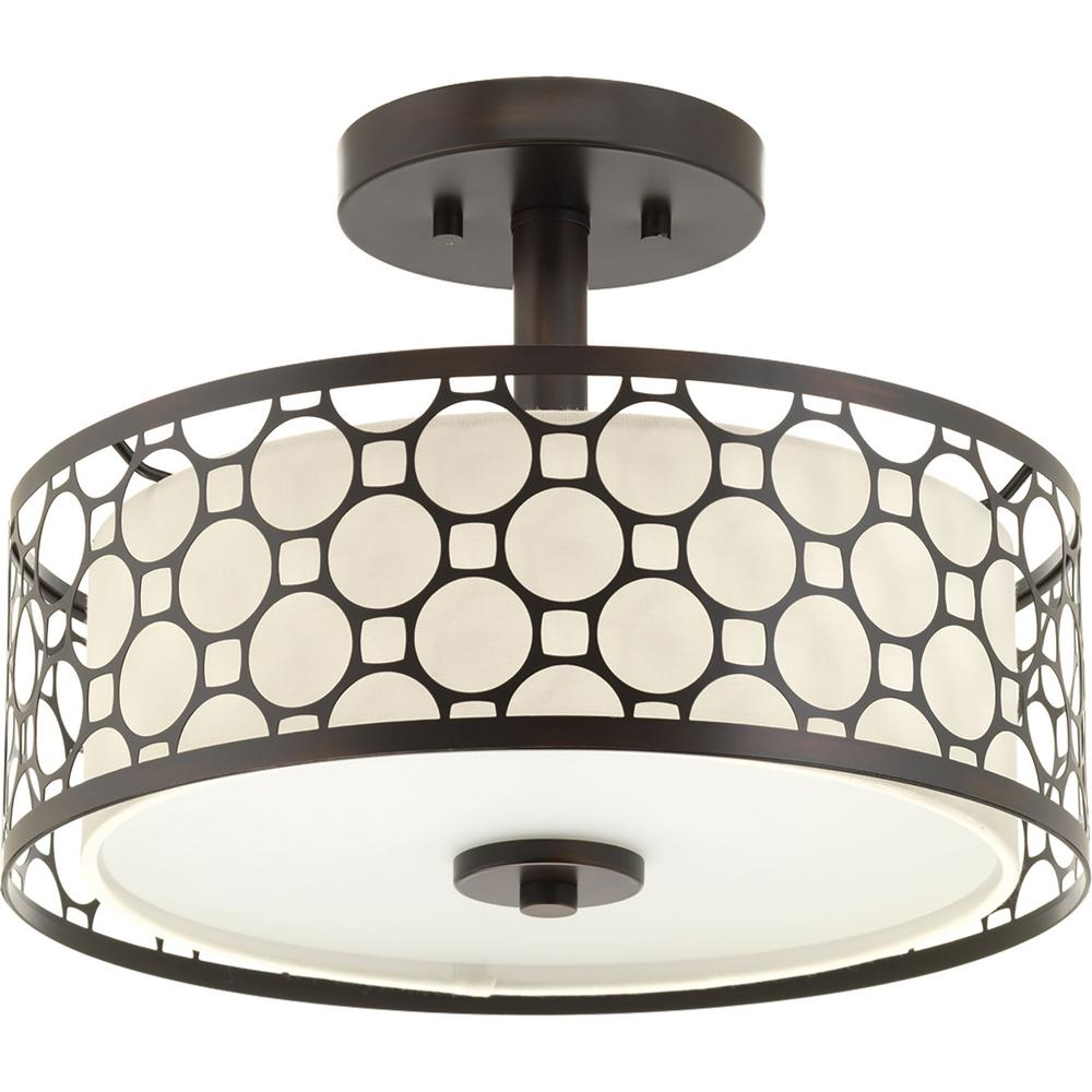 Progress Lighting Mingle Collection 17 Watt Antique Bronze Integrated Led Semi Flush Mount Light