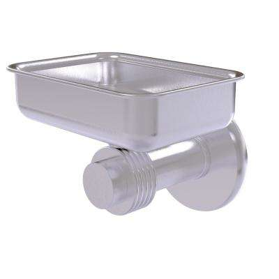 Mercury Collection Wall Mounted Soap Dish with Groovy Accents in Satin Chrome