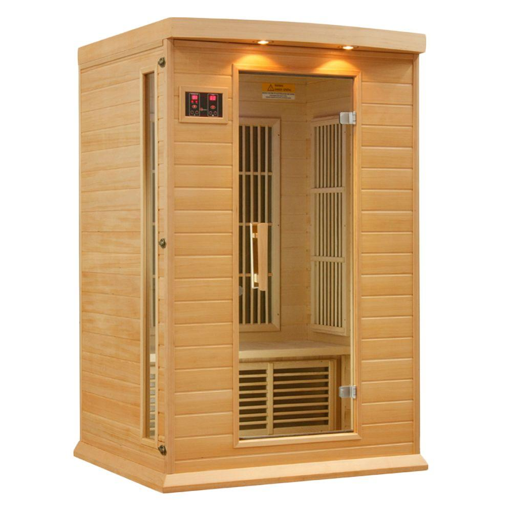 2-Person Carbon Infrared Sauna with Chromotherapy Lighting and Radio