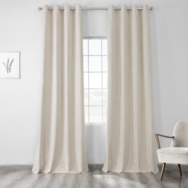 Natural Light Beige Vintage Thermal Cross Linen Weave Max Blackout Grommet Curtain - 50 in. W x 84 in. L (1 Panel)