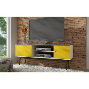 lowest price c8828 8546c Salem White and Yellow 50-Disc Capacity TV Stand