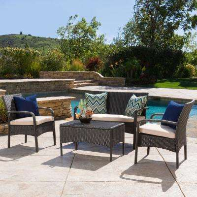 Cordoba Brown 4-Piece Wicker Patio Conversation Set with Tan Cushions