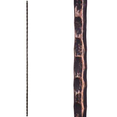Tuscan Square Hammered 44 in. x 0.5625 in. Oil Rubbed Bronze Plain Square Hammered Solid Wrought Iron Baluster