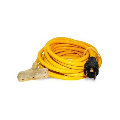 25 ft. 10/3 Lighted Generator Power Cord with L5-20P Plug and 3-Outlets (50-Pack)