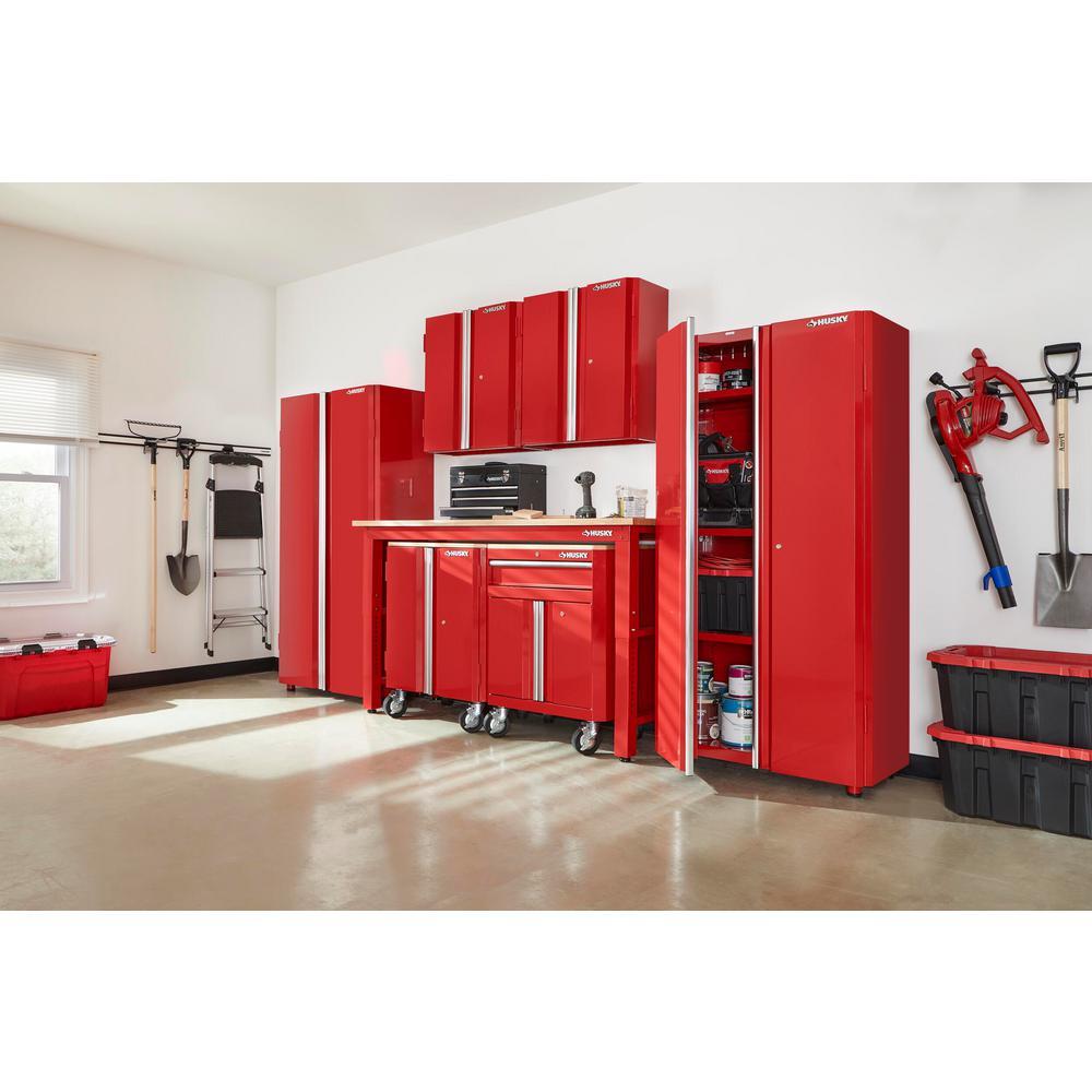 145 in. W x 98 in. H x 24 in. D Steel Garage Cabinet Set in Red (7-Piece)