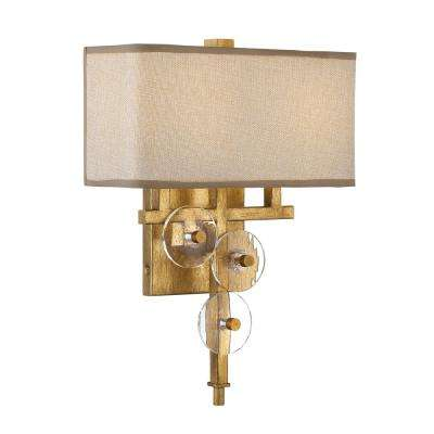 Rogue Decor Engeared 2-Light Antiqued Gold Leaf Wall Sconce with Gold Fabric Shade