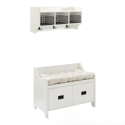 Fremont White Bench with Shelf 26 in. x 34.5 in. x 18 in.