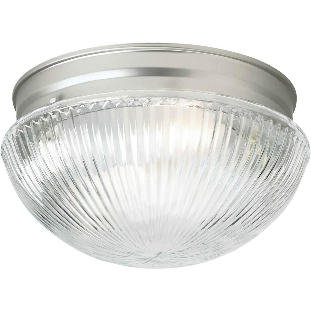Talista Cabriole 2-Light Brushed Nickel Flushmount with Clear Ribbed Glass