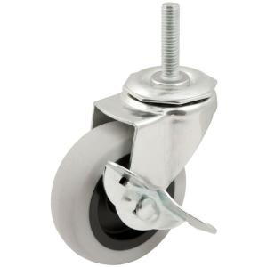 3 in. Threaded Stem with Brake Non-Marking Rubber Caster