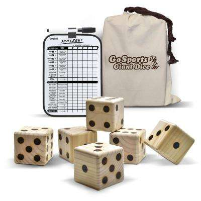 2.5 in. Giant Wooden Playing Dice Set with Bonus Rollzee Scoreboard