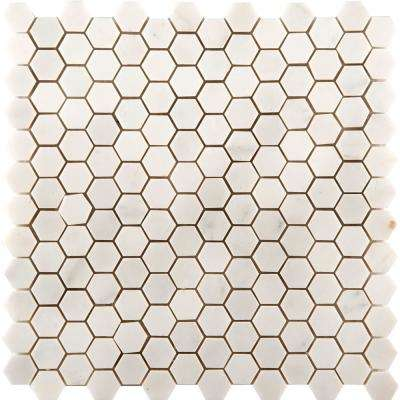 Marble Calacata Oro Polished 11.73 in. x 12.01 in. x 10mm Marble Mesh-Mounted Mosaic Tile