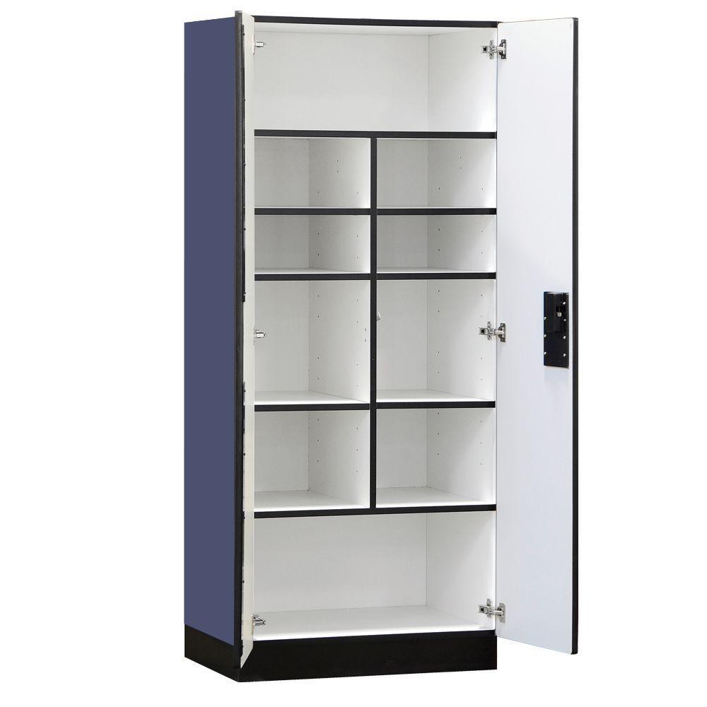 Salsbury Industries 3000 Series 32 in. W x 76 in. H x 18 in. D Standard Wood Designer Storage Cabinet Assembled in Blue