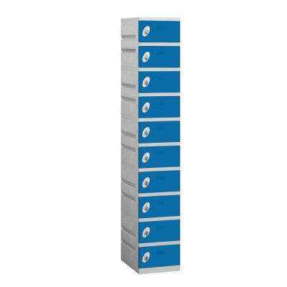 90000 Series 12.75 in. W x 74 in. H x 18 in. D 10-Tier Plastic Lockers Assembled in Blue