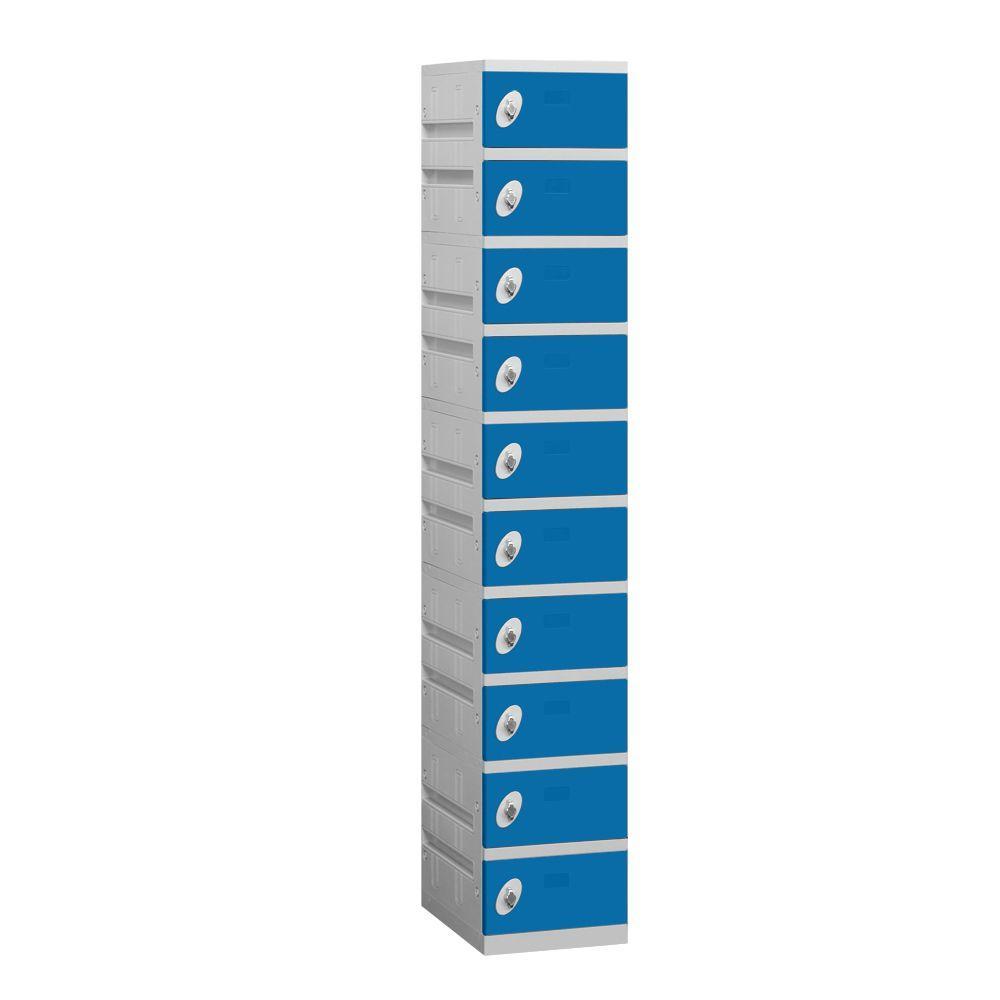 Salsbury Industries 90000 Series 12.75 in. W x 74 in. H x 18 in. D 10-Tier Plastic Lockers Assembled in Blue