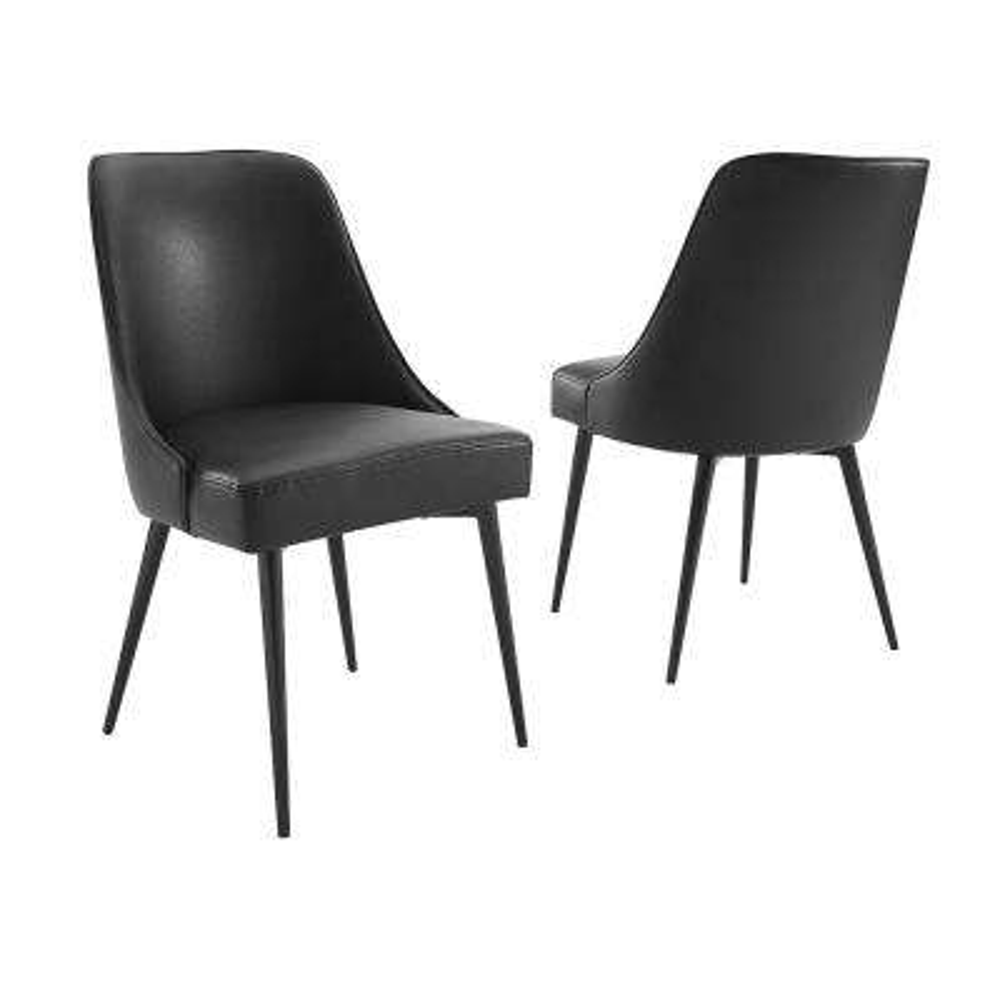 Colfax Black Vinyl Side Chair (Set of 2)