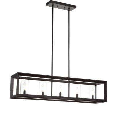 Anna 38.5 in. 5-Light Oil Rubbed Bronze Metal/Glass LED Pendant