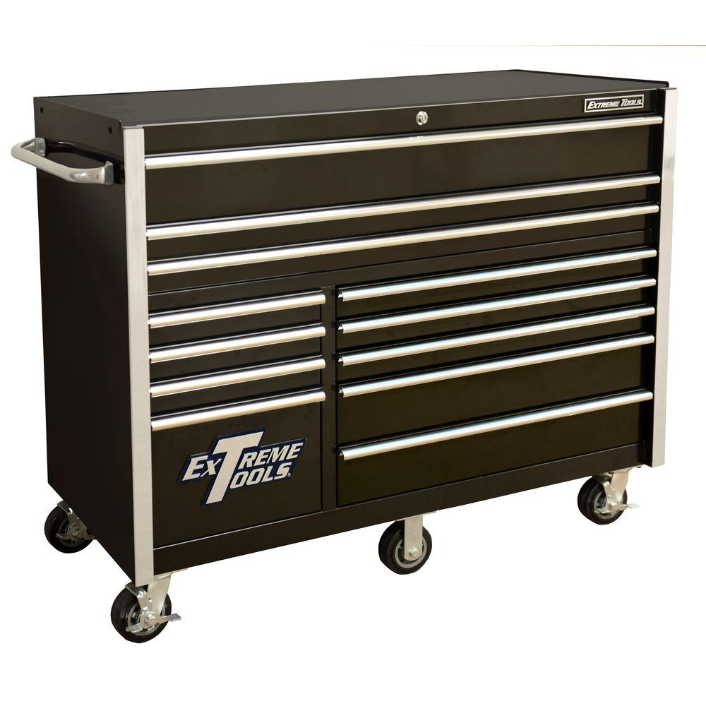 Extreme Tools THD Series 55 in.12-Drawer Roller Cabinet Tool Chest in Black