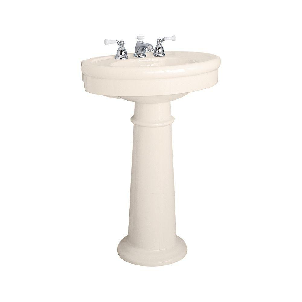 American Standard Collection Pedestal Combo Bathroom Sink In Linen 0283 800 222 The Home Depot