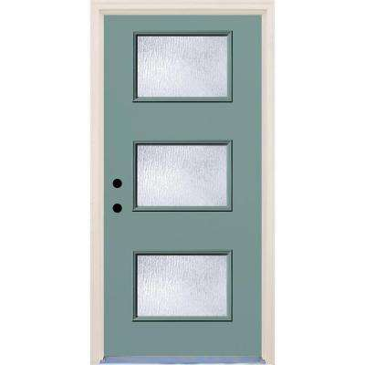 36 in. x 80 in. Surf Right-Hand 3 Lite Rain Glass Painted Fiberglass Prehung Front Door with Brickmould