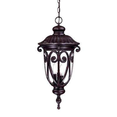 Naples Collection 3-Light Marbleized Mahogany Outdoor Hanging Lantern Light Fixture