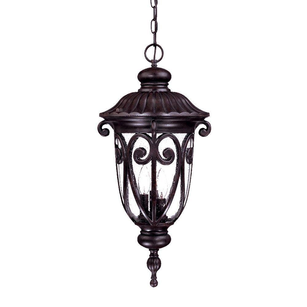 Naples Collection 3-Light Marbleized Mahogany Outdoor Hanging Lantern Light Fixture