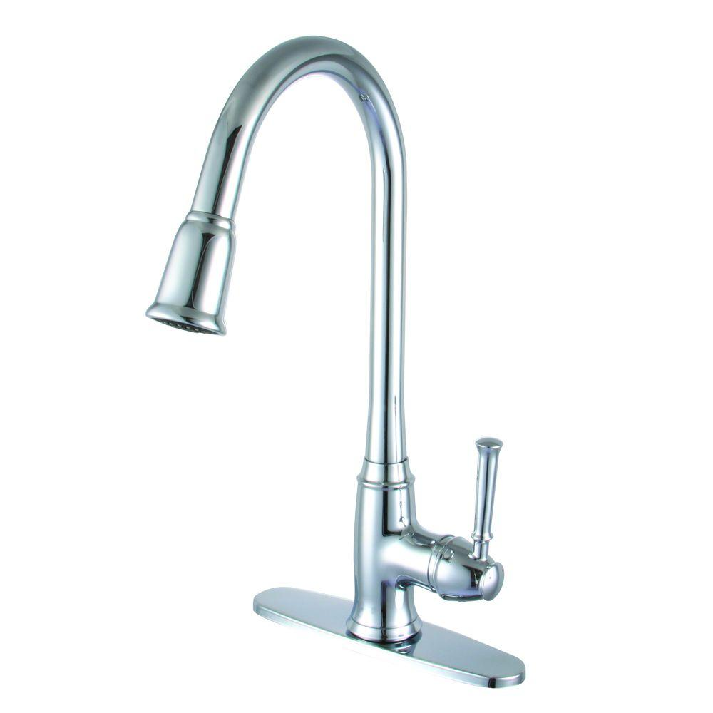 Yosemite Home Decor Single Handle Pull Down Sprayer Kitchen Faucet In Polished Chrome