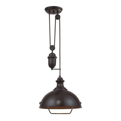 Farmhouse 1-Light Oiled Bronze Ceiling Mount Pendant