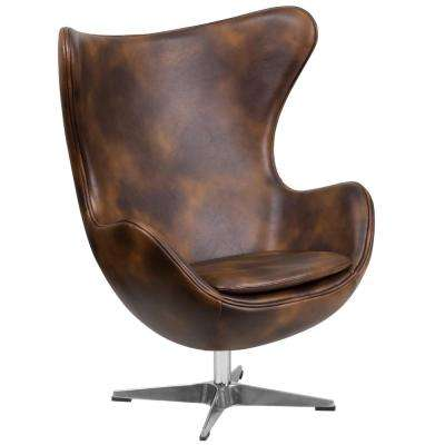 Bomber Jacket Brown Leather Egg Chair with Tilt-Lock Mechanism