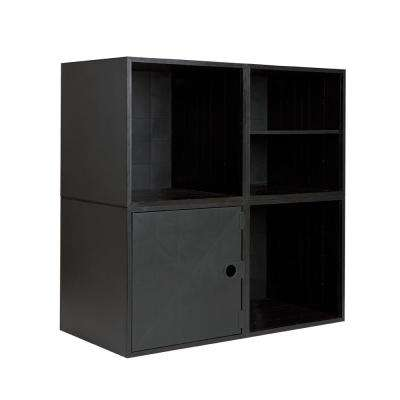 4-Cube Kit with Door and Shelf 27.5 in. x 27.5 in. Black Modular 4-Cube Organizer