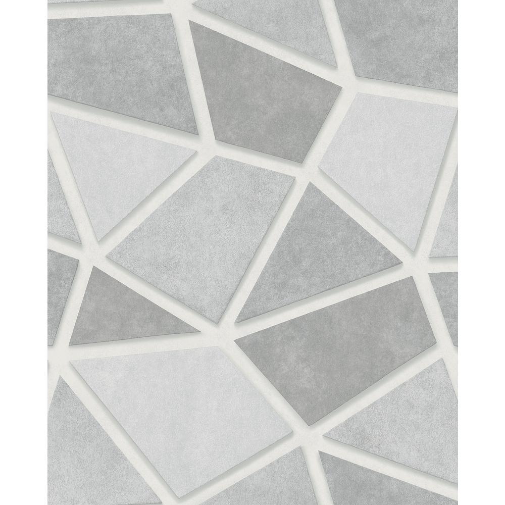 Coty Silver Mosaic Wallpaper Sample
