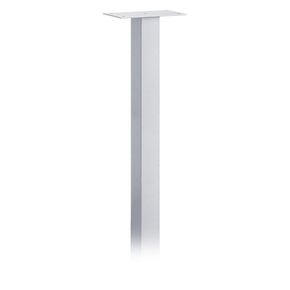 Salsbury Industries Standard In-Ground Mounted Mailbox Pedestal for Roadside Mailboxes in Silver