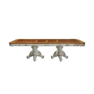 Picardy Antique Pearl and Cherry Oak Dining Table with Double Pedestal