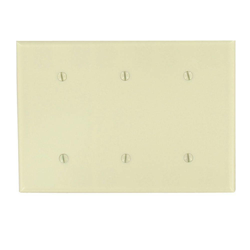 leviton 3gang midway blank nylon wall plate ivory