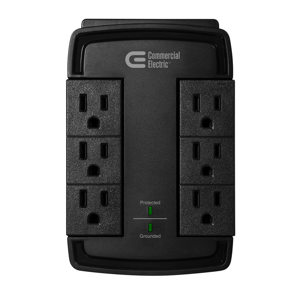 Commercial Electric 6-Outlet Swivel Wall Tap Surge Protector, Black