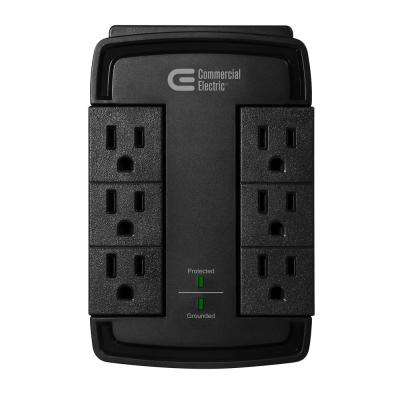 6-Outlet Swivel Wall Tap Surge Protector, Black