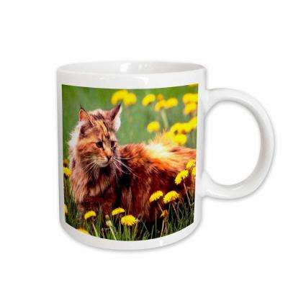 11 oz. White Ceramic Cat In The Flower Field Mug