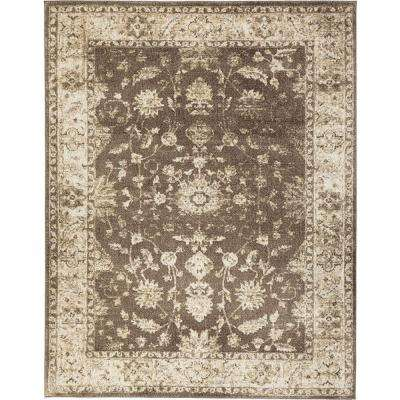 Old Treasures Brown/Cream 7 ft. 10 in. x 9 ft. 10 in. Area Rug