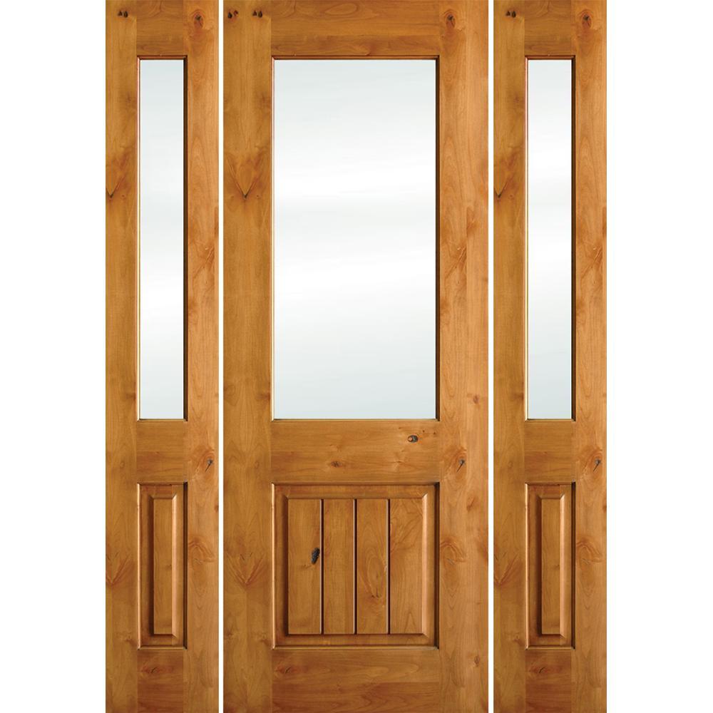 Krosswood Doors 64 in. x 96 in. Rustic Alder Half Lite Clear Low-E V-Grooved Unfinished Wood Left-Hand Prehung Front Door/Sidelites