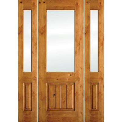 64 in. x 96 in. Rustic Alder Half Lite Clear Low-E V-Grooved Unfinished Wood Left-Hand Prehung Front Door/Sidelites