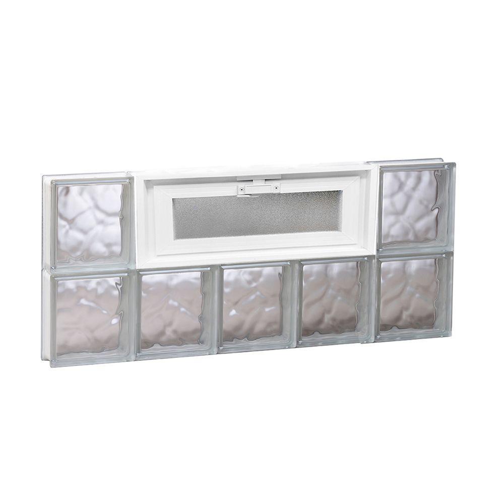 28.75 in. x 11.5 in. x 3.125 in. Frameless Wave Pattern Vented Glass Block Window