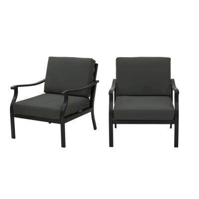 Riley Black Steel Outdoor Patio Lounge Chair with CushionGuard Graphite Dark Gray Cushions (2-Pack)