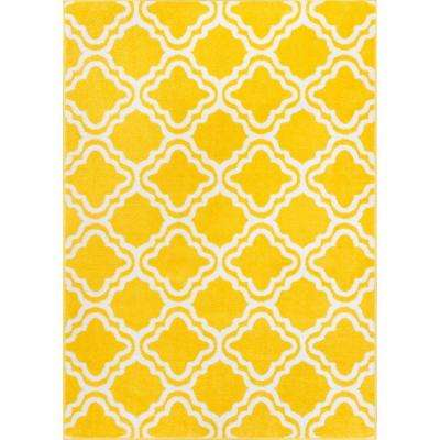 StarBright Calipso Yellow 5 ft. x 7 ft. Kids Area Rug